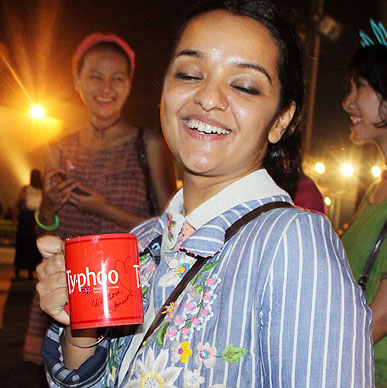 Designer Aneeth Arora hosting her after show party  at Typhoo Tea Bar at Amazon India Fashion Week 2015