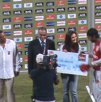 Typhoo and Preity Zinta are honoured to present Typhoo Man of the Match to Sangakkara